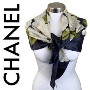CHANEL CAMELLIA WHITE GREEN GRAY FLORAL SCARF